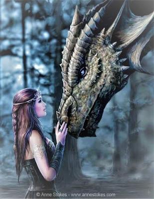Dragon fantasy avec une fille elfe