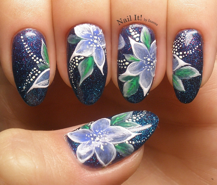 "One Stroke Flowers with Indigo Nails  Arte Brillante Gels (+ ""Shanghai"" & ""Storm"" Glitter Gel Polish)"
