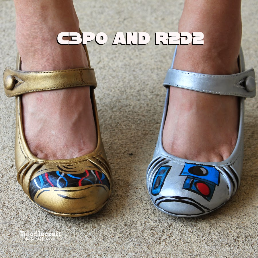 Doodlecraft Star Wars C3po And R2d2 Painted Shoes
