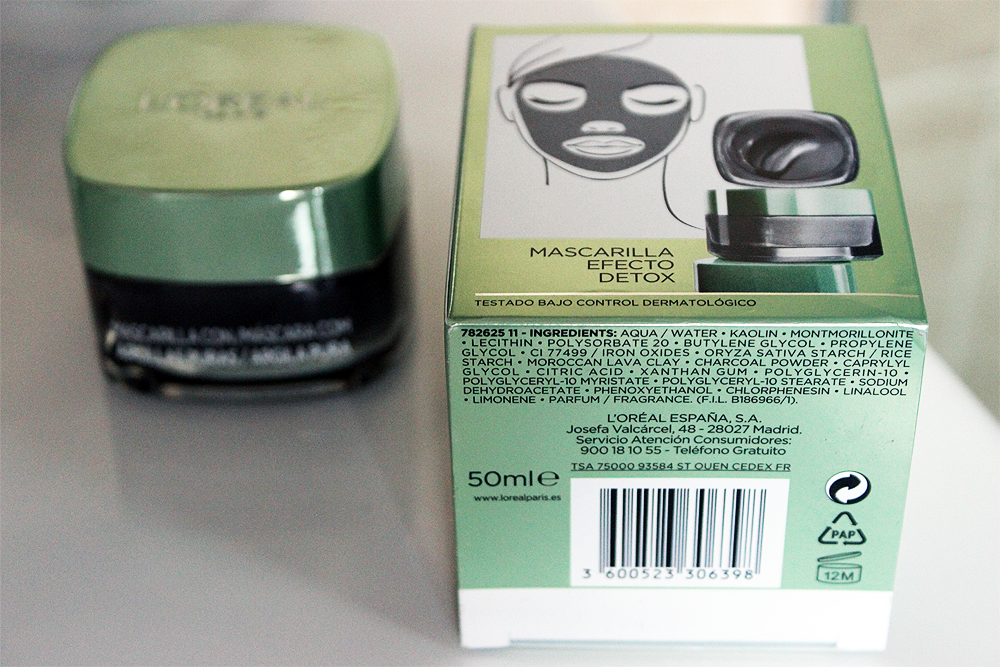 L'Oreal Detox & Brighten pure clay mask ingredients