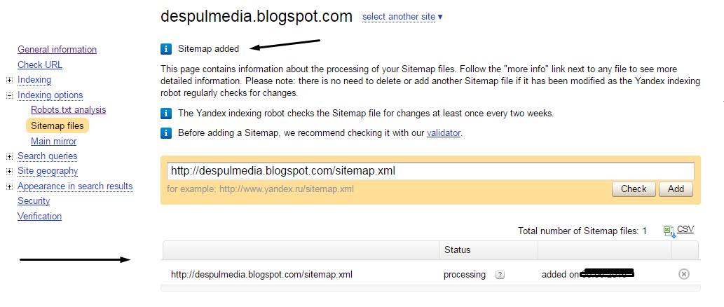 cara membuat sitemap di yandex webmaster dengan mudah despul media