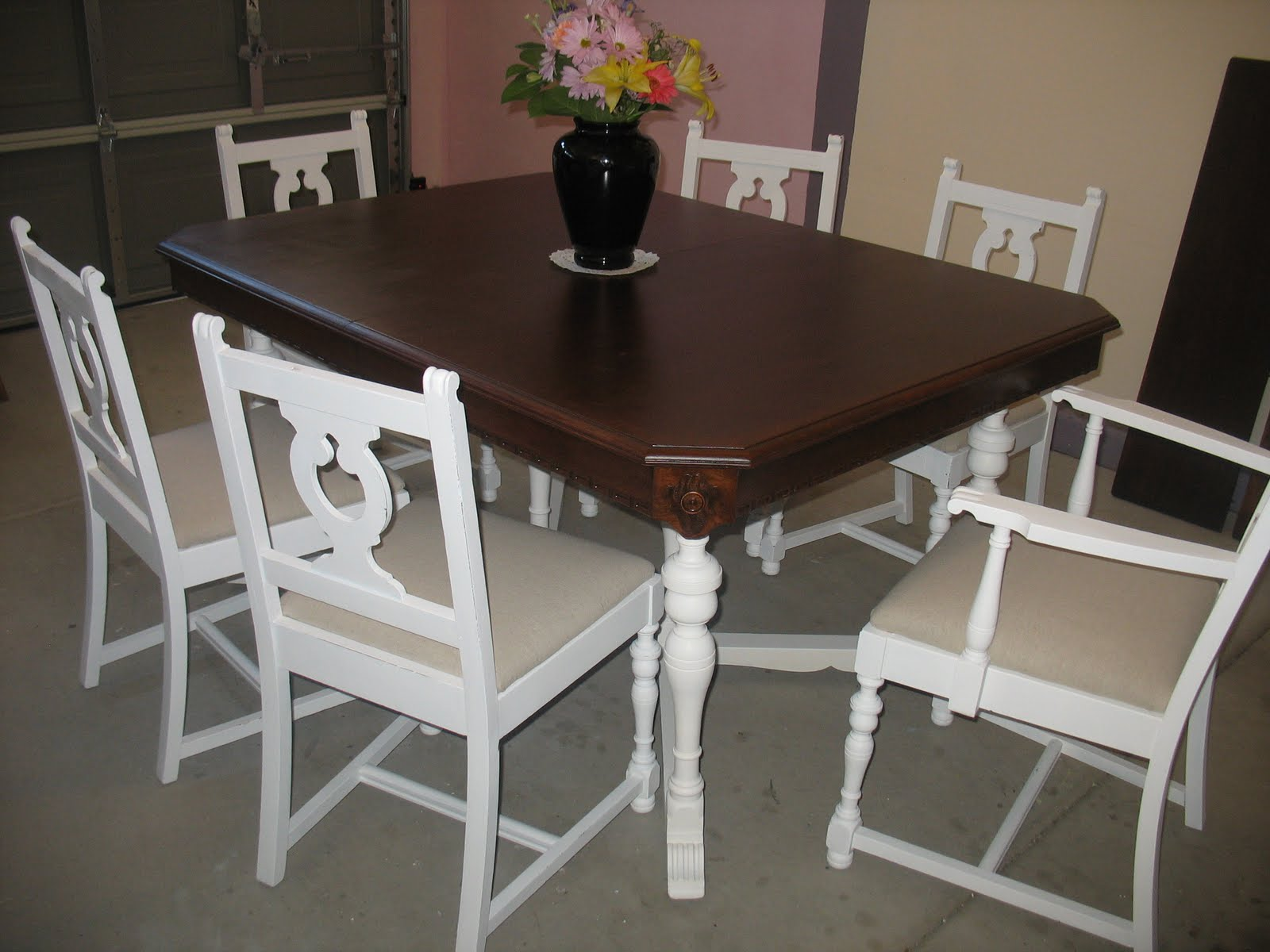 shabby chic redo and redo again dining redo kitchen table 2nd Redo and all Shabbied drop cloth seat covers white base and white chairs lightly distressed