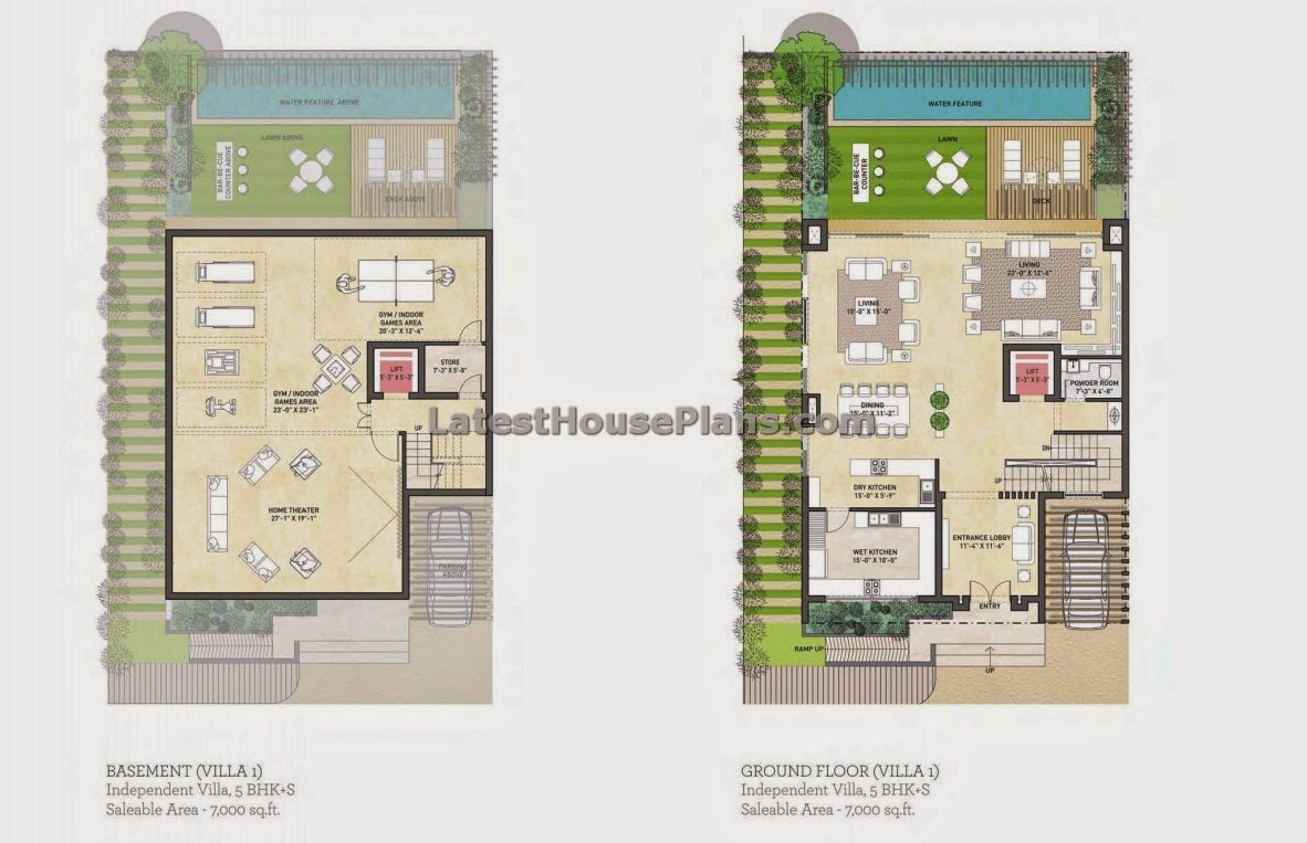 5 bhk duple house plan in 7000 sqft area