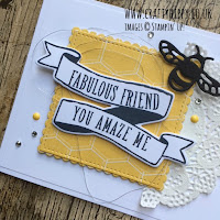 This image shows a handmade, bee-themed card made with Stampin' Up! products.