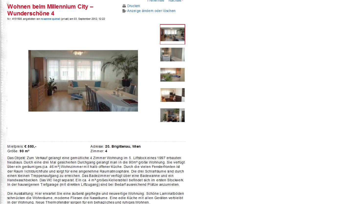 wohnen beim millennium city wundersch ne 4 vorkassebetrug wien. Black Bedroom Furniture Sets. Home Design Ideas