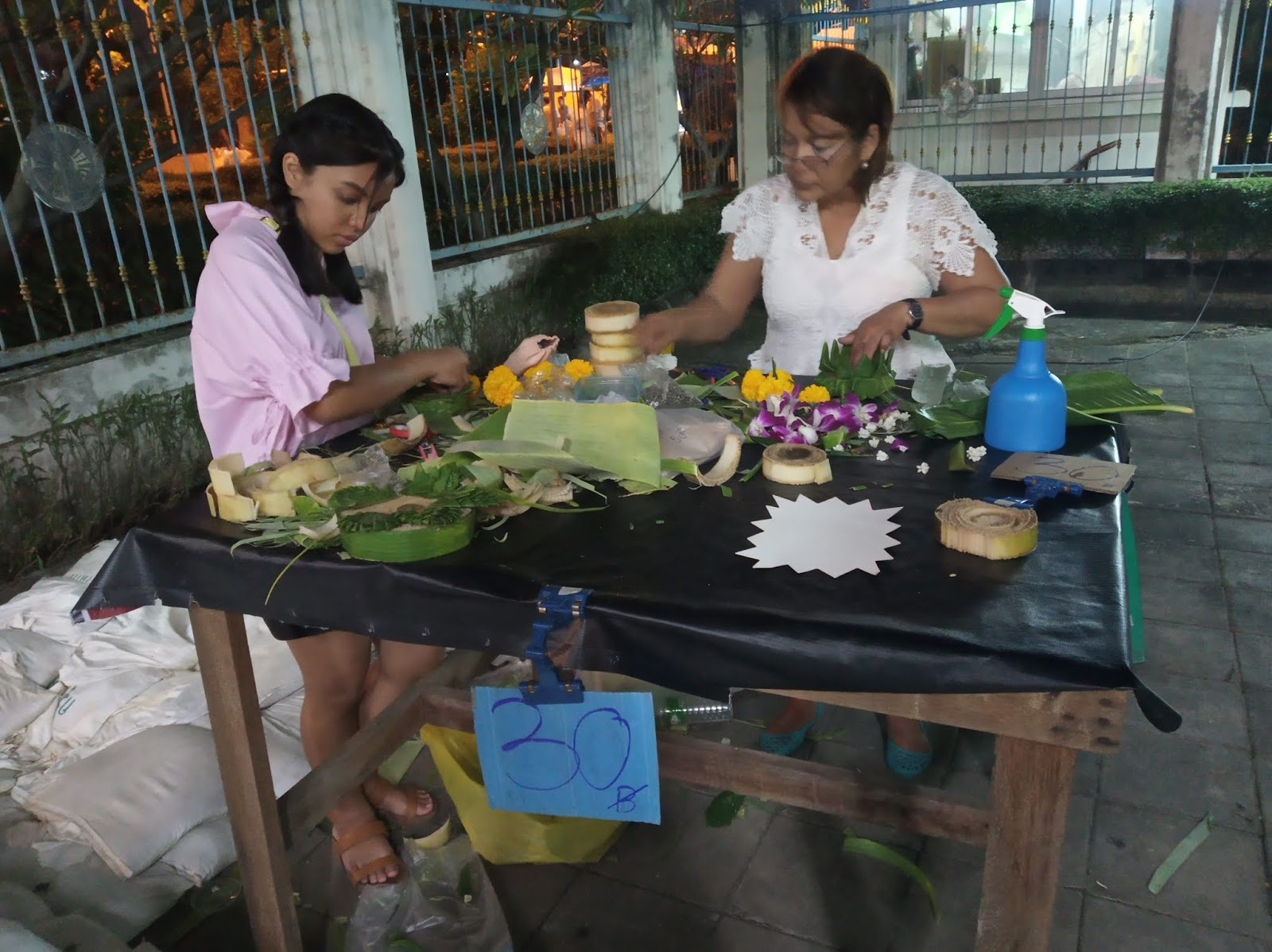 Krathongs being sold at Sathorn pier