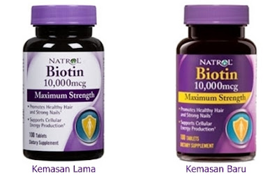 Kemasan Lama dan Baru Natrol Biotin 10,000 Mcg 100 Tablets Maximum Strength for Hair Skin and Nails