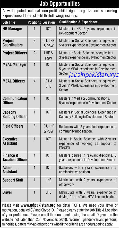 Advertisement for GD Pakistan Jobs 2018