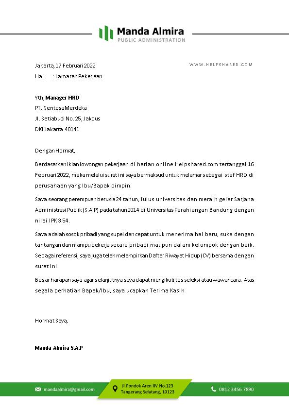 Contoh Surat Lamaran Kerja 10
