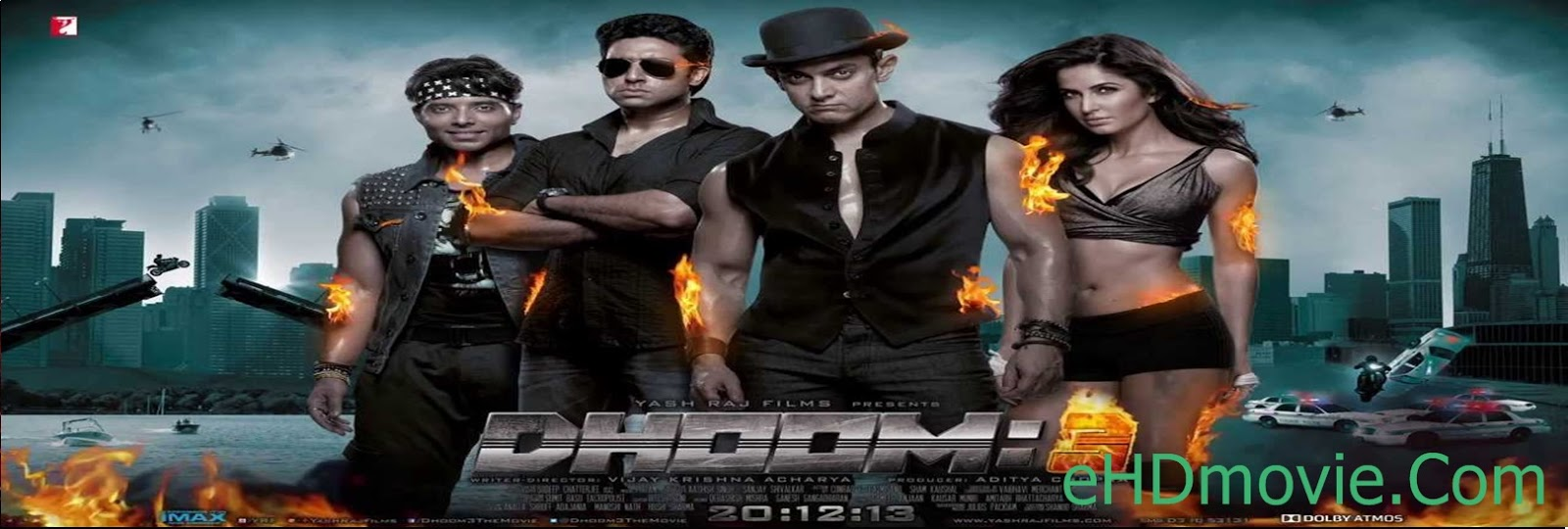 Dhoom 3 2013 Full Movie Hindi HEVC - 720p - ORG BRRip 750MB - 1.5GB ESubs Free Download
