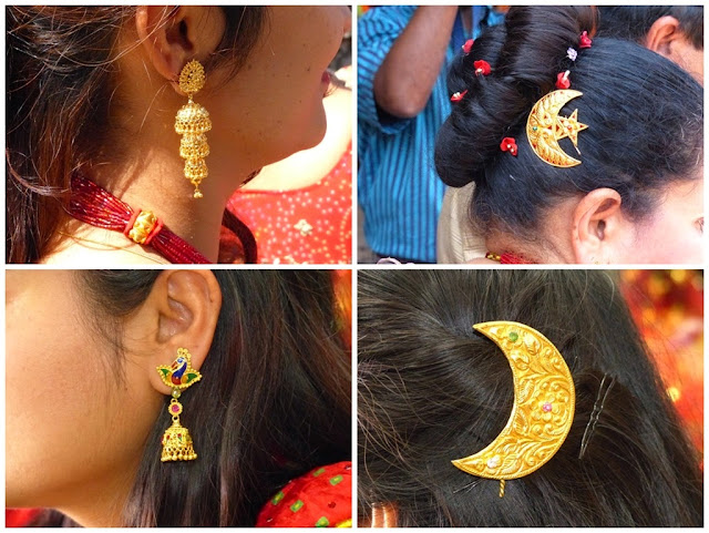 Gold earrings and hair decorations