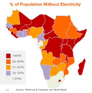 the percentage of Africa's population without Electricity