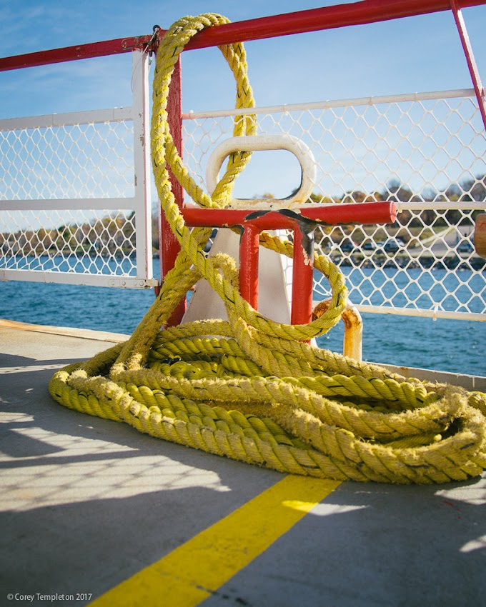 Portland, Maine USA November 2017 photo by Corey Templeton of Yellow Rope on a Casco Bay Lines Ferry boat.