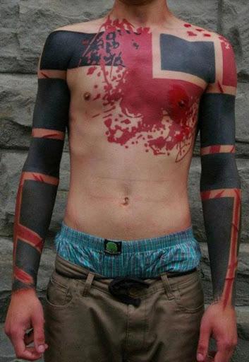 Americana de tatuagem para homens no peito