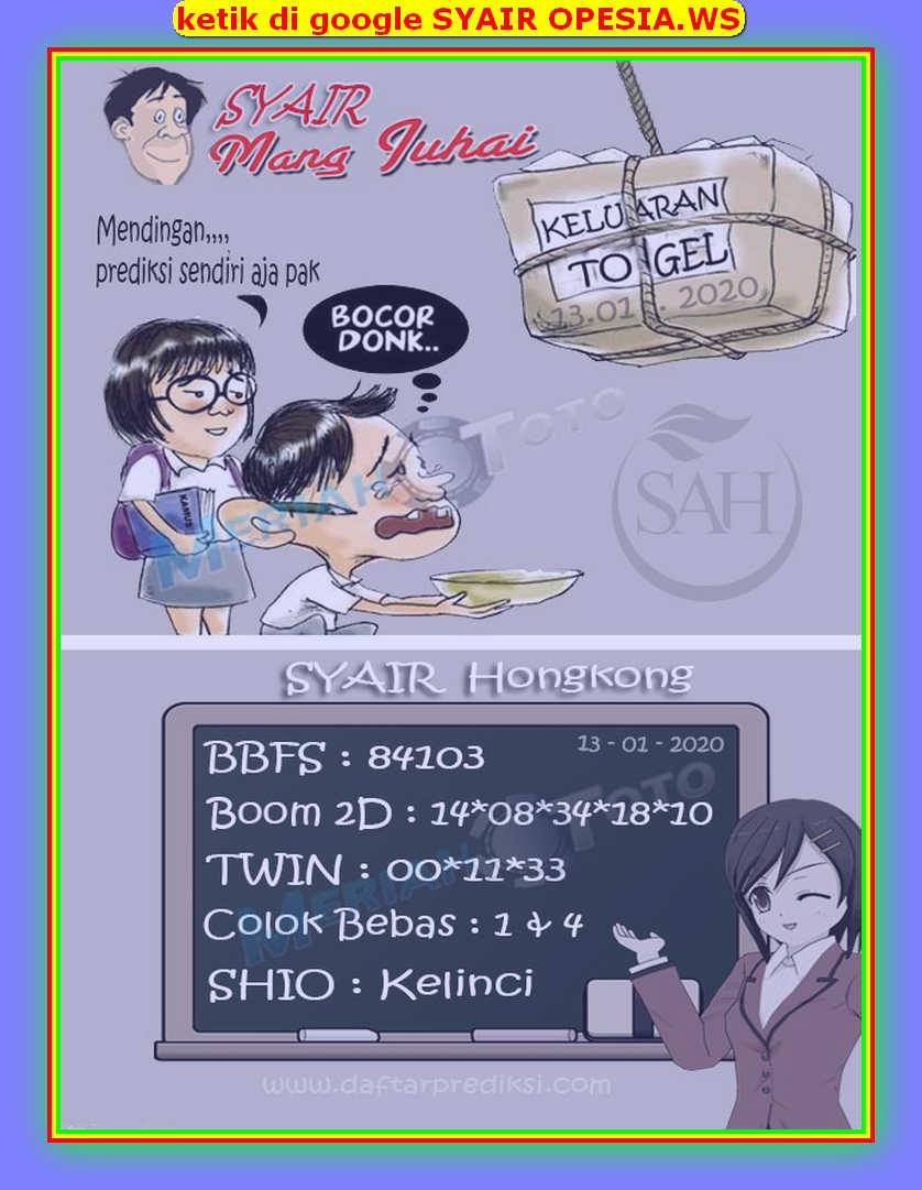 Kode syair Hongkong Senin 13 Januari 2020 164