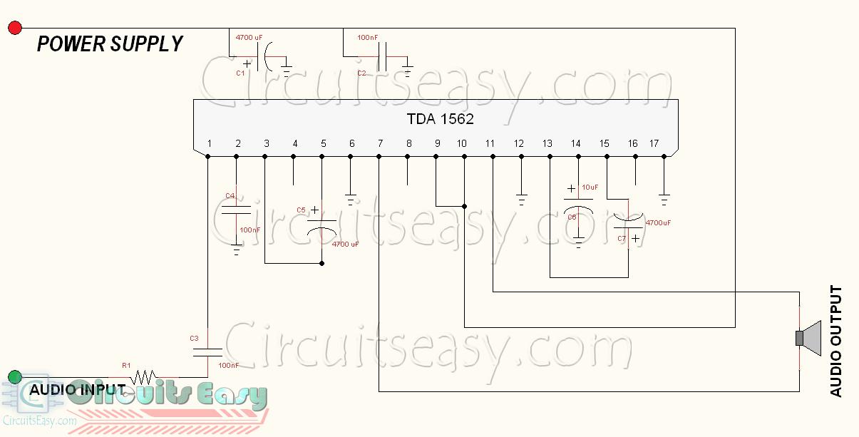 Mono Amplifier Circuit Diagram   70 Watt Hi Fi Audio Amplifier Circuit Using Tda1562