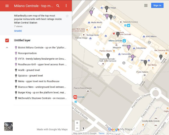 interactive map of top Milano Centrale Station restaurants, popular with best ratings