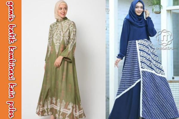 Model Baju Gamis Batik Kombinasi Kain Polos Terbaru