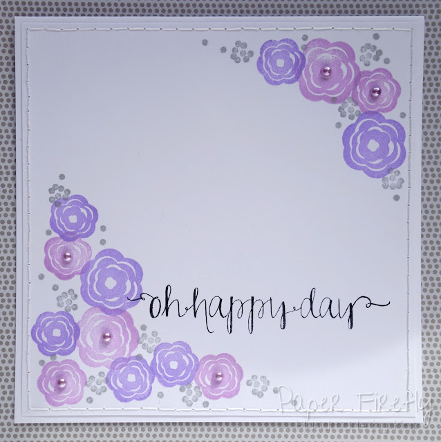 Lilac stamped floral card