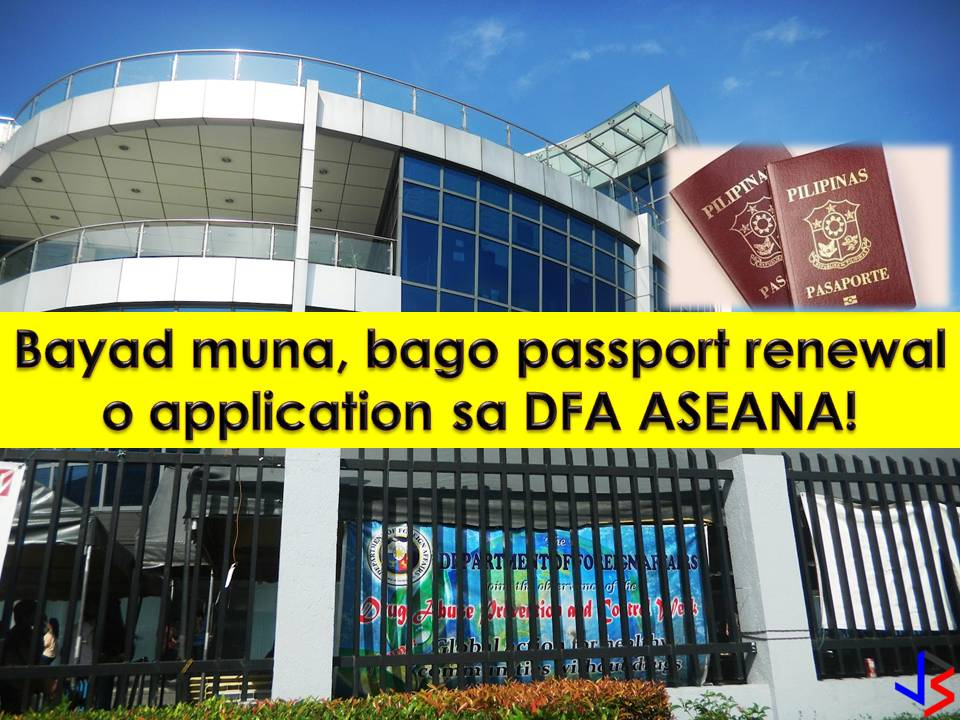 To avoid no-show and to prevent fixers from reserving slots and selling them to passport applicants, the Department of Foreign Affairs (DFA) now requires prepayment for passport application and renewal.