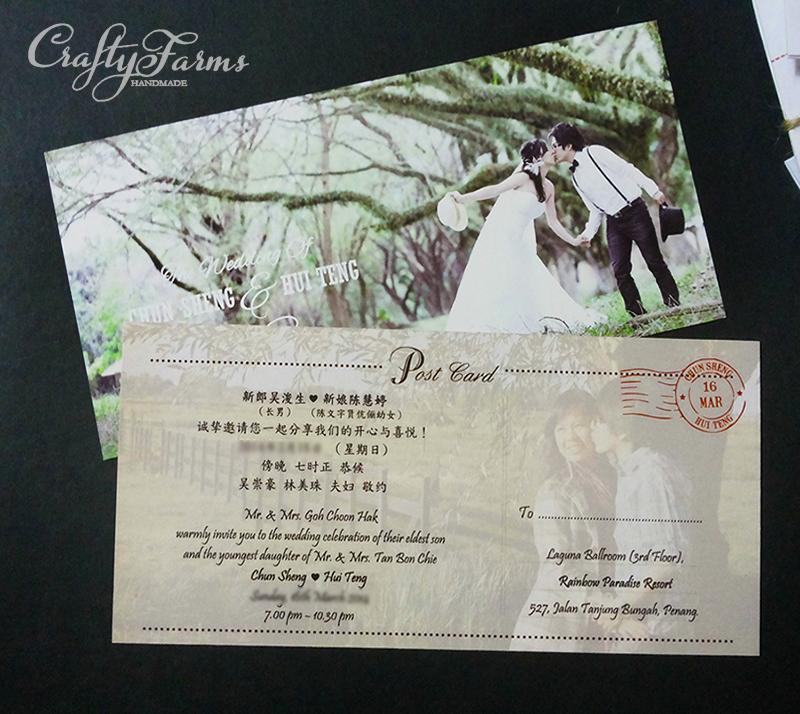 Wedding card malaysia crafty farms handmade personalized personalized postcard wedding invitation cards stopboris Gallery