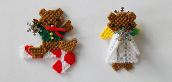 Plastic Canvas Teddy Bear Angel and Candy Cane Christmas Ornaments