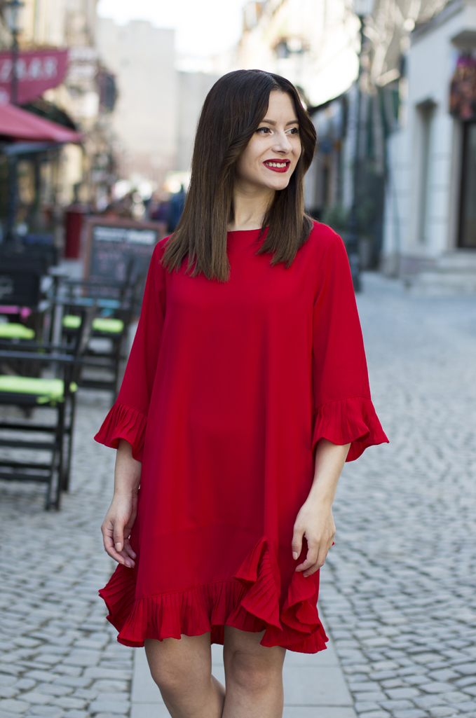 red dress with ruffles