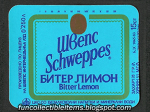 Schweppes Bitter Lemon soda label from 1993