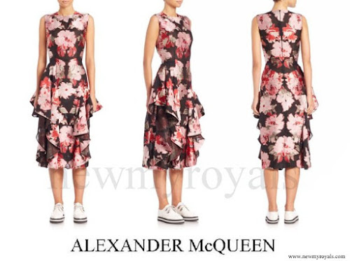 The Countess of Wessex wore Alexander McQueen Pink Floral Ruffle Dress