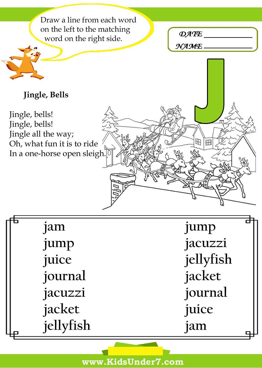 Kids Under 7 Letter J Worksheets