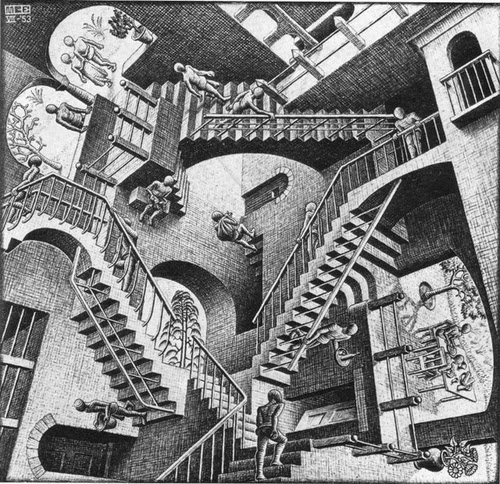08-Relativity-Andrew-Lipson-Surreal-M-C-Escher-v-Lego-in-Drawing-v-Sculpture-www-designstack-co
