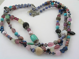 Three Strand Gemstone Necklace