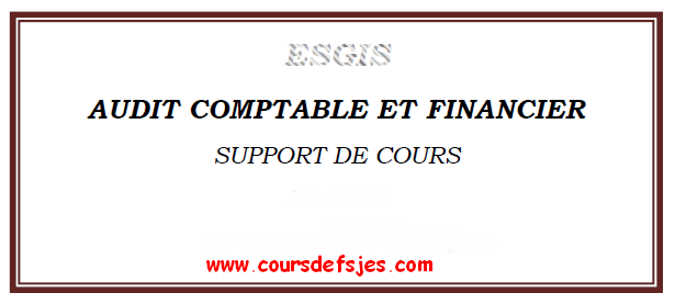 ESGIS AUDIT COMPTABLE ET FINANCIER SUPPORT DE COURS MASTER Mr WHANNOU SERGE