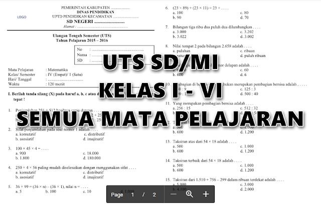 Soal UTS SD/MI Terbaru