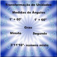Ilustração mostrando as unidades das medidas de ângulos e as conversões de grau para minuto e de minuto para segundo e um exemplo de número misto de medida de ângulo.