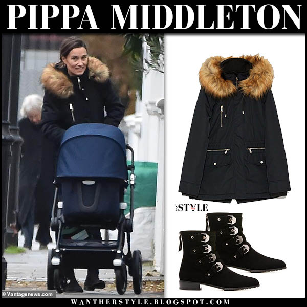 Pippa Middleton in black fur trim zara parka and black ankle boots stuart weitzman jittermacho street style december 6