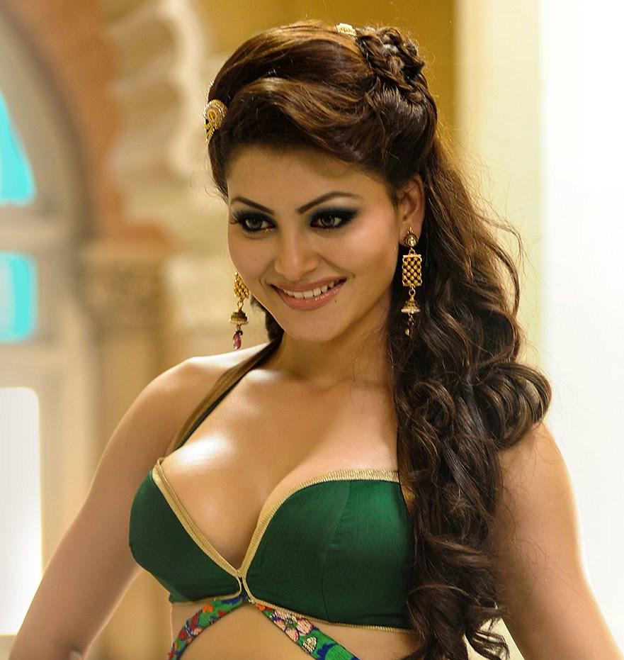 Urvashi Rautela in green blouse, Urvashi Rautela cleavage photos, Urvashi Rautela in tight dress, Urvashi Rautela green dress hot pics, Urvashi Rautela hottest photos ever