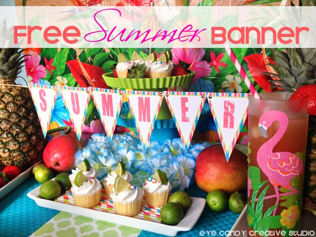 FREE summer banner, tips for a luau, flamingo glass, tropical fruit, luau