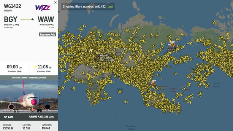 śledzenie lotu samolotu lufthansy