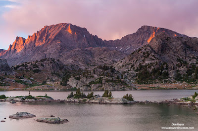 Fremont Peak above Island Lake at sunset in the Wind River Range of Wyoming, USA.