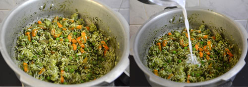 how to make green pulao