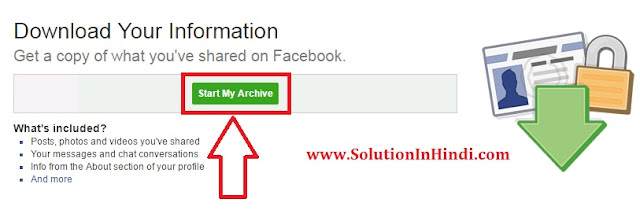 facebook deleted messages recovery ke liye start my archive click kare
