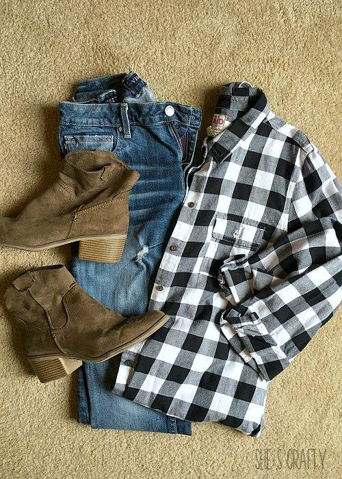 booties, jeans, buffalo check shirt