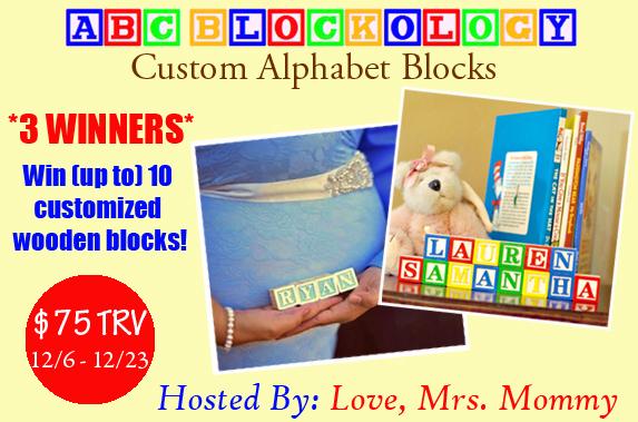 ABC Blockology Customized Wooden Block Set Giveaway
