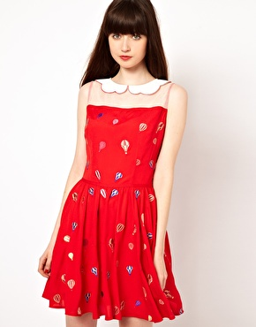 Red Asos Tea Dress with hot air balloon print