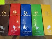 Packungen Kaffee: Coffeepolitan Premium Geschenkset - Kaffee aus 5 Kontinenten mit Zubereitungsset - grob gemahlen 5 x 9 Portionen (5 x 9 x 7g); ideal auch als Geburtstagsgeschenk oder Probierset