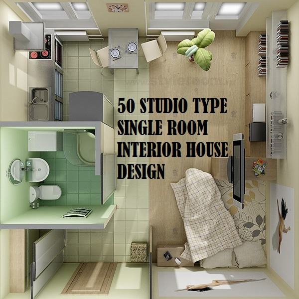 50 studio type single room house lay out and interior design for One room home designs