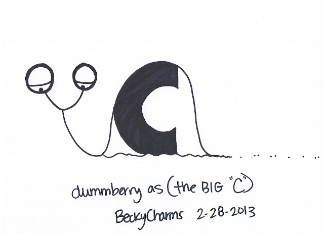 Dummberry as The BIG C as in cancer by BeckyCharms 2013, dummberry, 2013, beckycharms, San Diego, art, arte, artist, cartoon, illustration, snail, emotions, family, life, lifestyle,