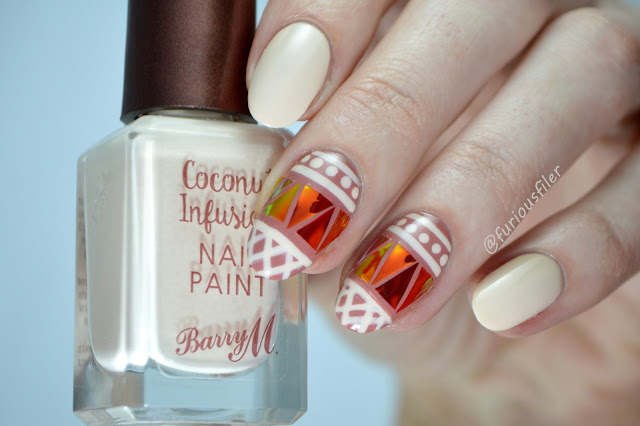 festival shattered glass boho pattern nude nail art