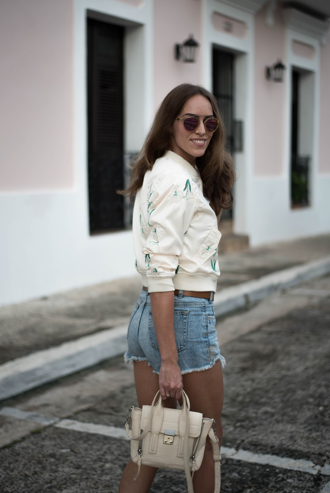 bomber jacket denim shorts summer outfit